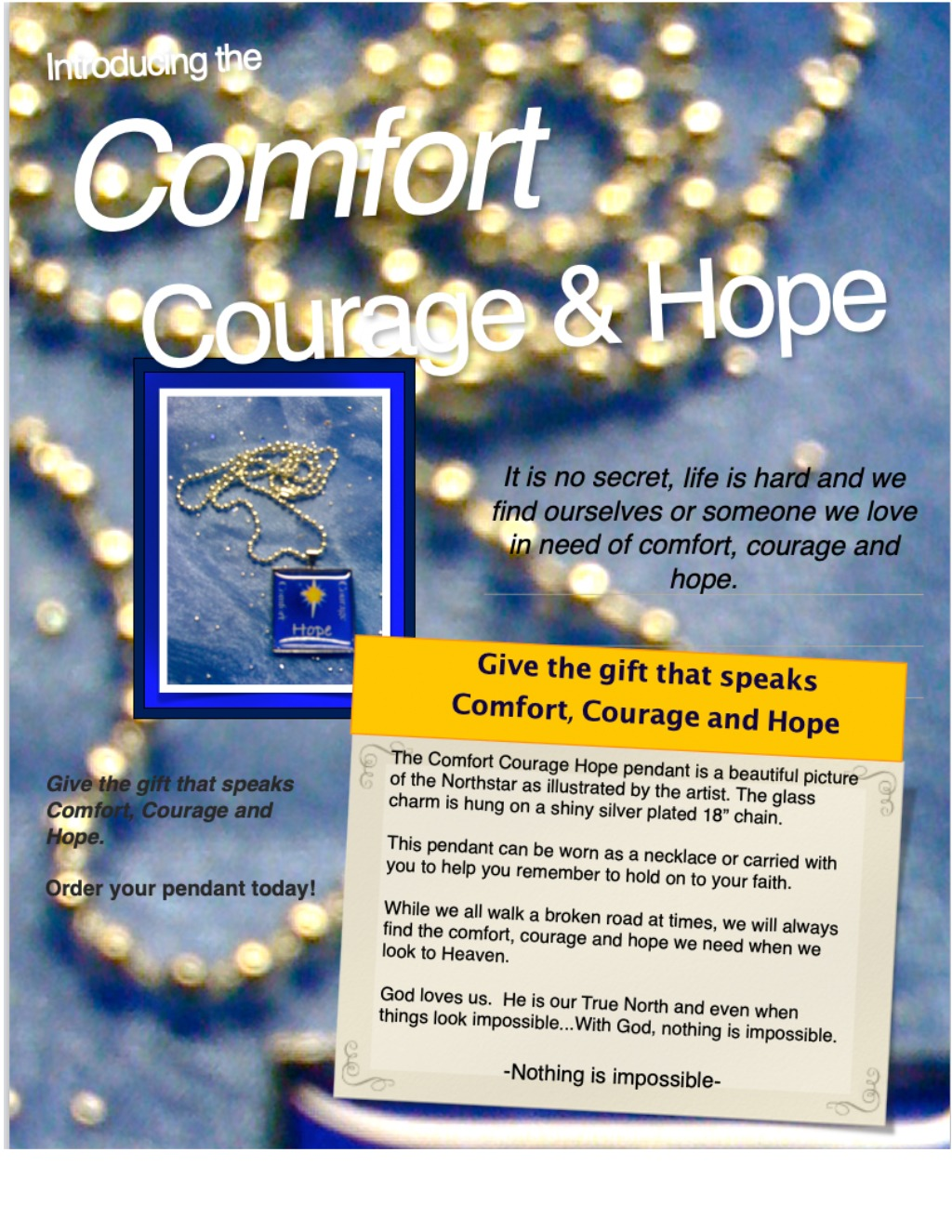 Comfort, Courage Hope pendant