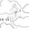 Jesus ascending coloring page thumbnail